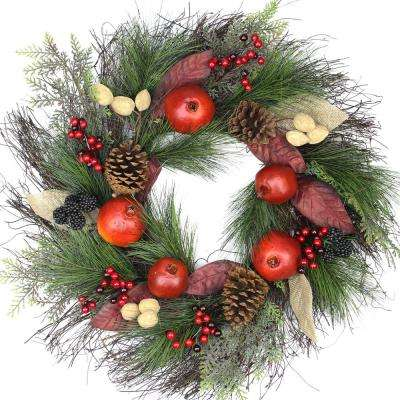 24 in. Unlit Autumn Harvest Mixed Pine Berry and Nut Thanksgiving Fall Wreath