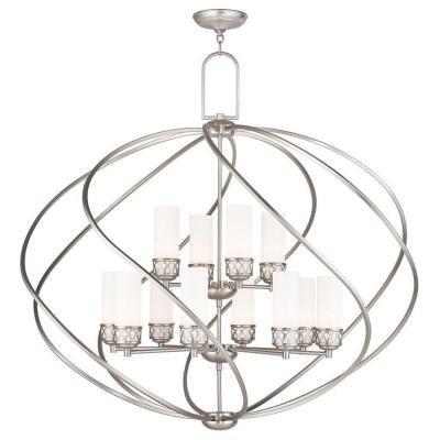 Westfield 12-Light Brushed Nickel Chandelier with Hand Blown Satin Opal White Glass Shade