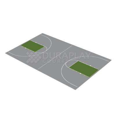 43 ft. 10 in. x 75 ft. 7 in. Gray and Slate Green Full Court Basketball Kit