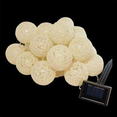 20-Light Warm White Solar Cotton Globe Lights (1-Pack)