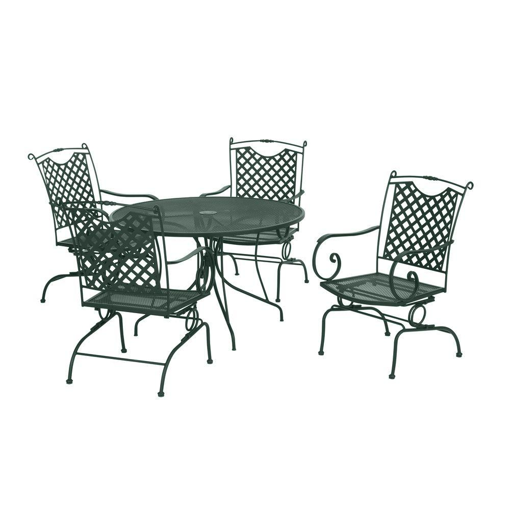 null Green Wrought Iron 5-Piece Lattice Back Patio Dining Set-DISCONTINUED