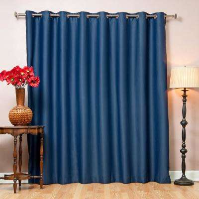 100 in. x 96 in. Flame Retardant Blackout Curtain Panel in Navy