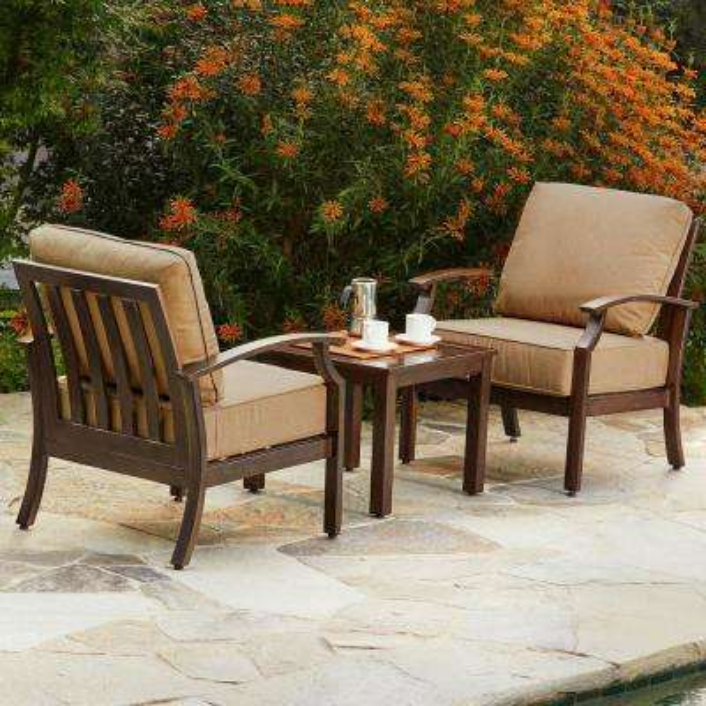 Bridgeport 3-Piece Metal Patio Conversation Set with Tan Cushions