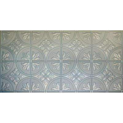 Dimensions Faux 2 ft. x 4 ft. Glue-up Tin Style Nickel Ceiling Tile for Surface Mount