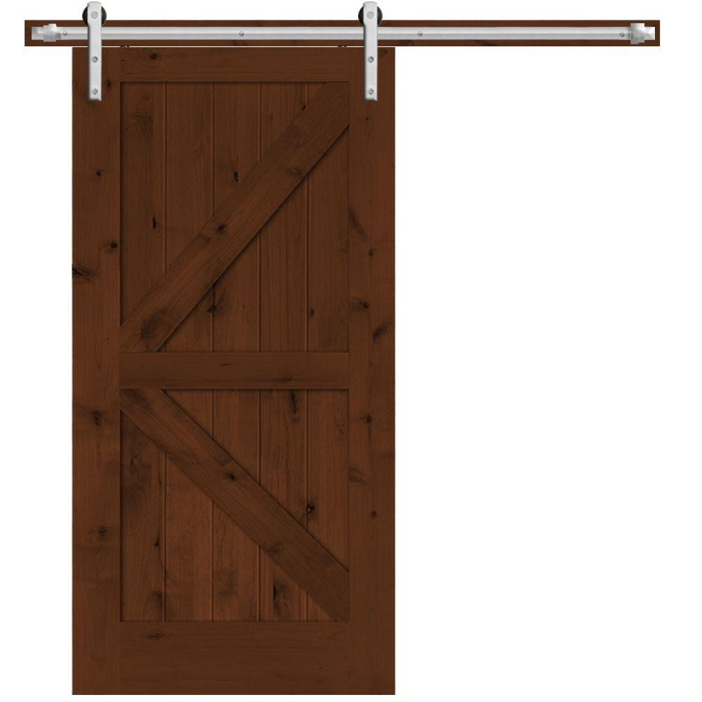 Steves Sons 42 In X 84 In Rustic 2 Panel Stained Knotty Alder Interior Barn Door Slab With