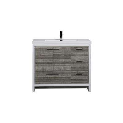 Dolce 42 in. W Bath Vanity in High Gloss Ash Gray w/ Reinforced Acrylic Top in White w/ White Basin & Left Side Drawers