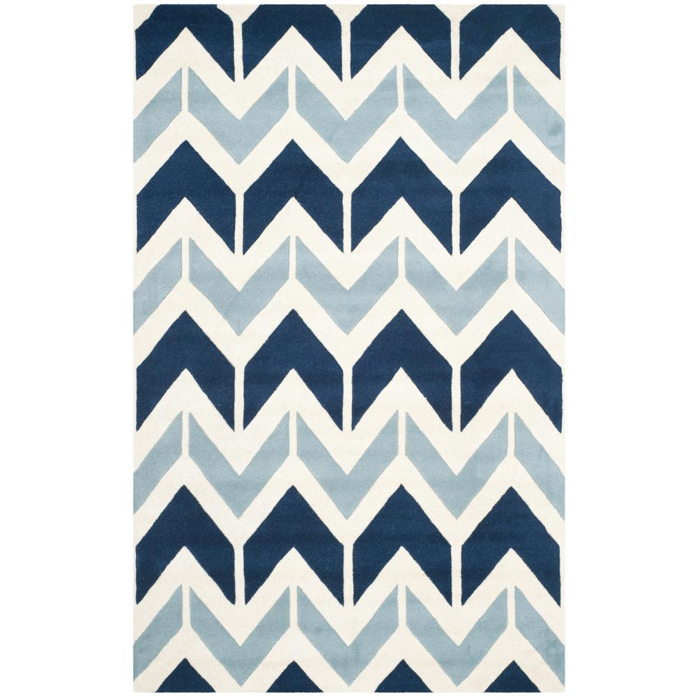 Chatham Dark Blue/Light Blue 6 ft. x 9 ft. Area Rug