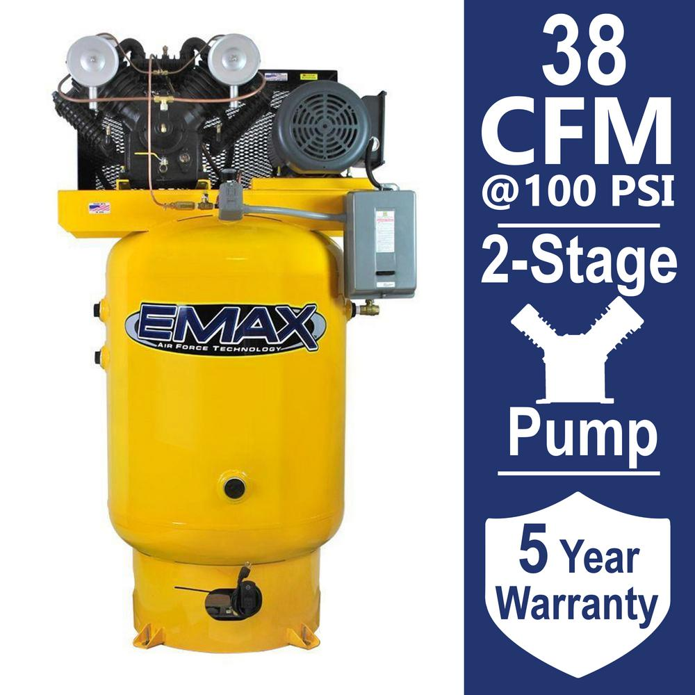 EMAX Industrial Plus Series 120 Gal. 10 HP 460-Volt 3-Phase Vertical Electric Air Compressor