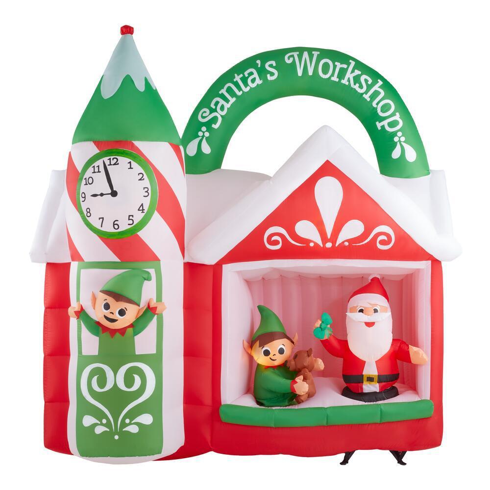 7.42 ft. Animated Inflatable Santa's Workshop Scene