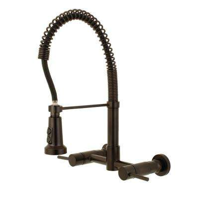 Concord 2-Handle Wall-Mount Pull-Down Sprayer Kitchen Faucet in Oil Rubbed Bronze