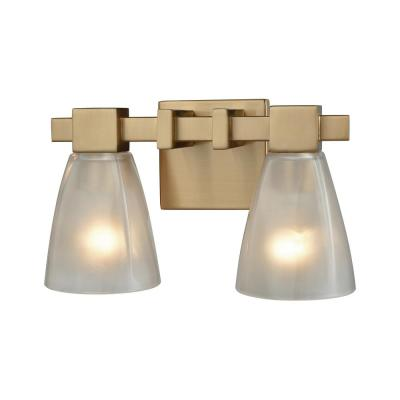 Ensley 2-Light Satin Brass with Frosted Glass Bath Light