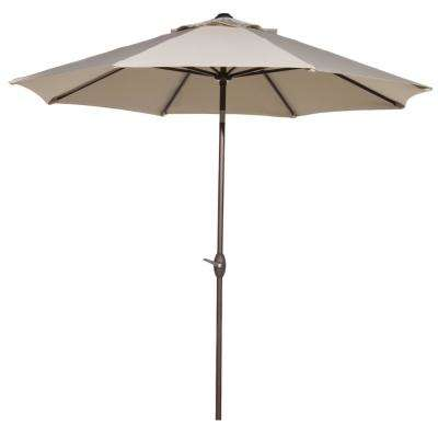 9 ft. Market Aluminum Table Umbrella with Auto Tilt and Crank Outdoor Patio Umbrella in Beige (8-Ribs)