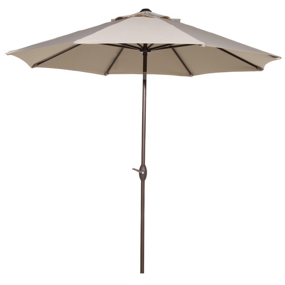 9 ft. Market Patio Umbrella Aluminum Pole with Auto Tilt and Crank, Beige (8-Ribs)