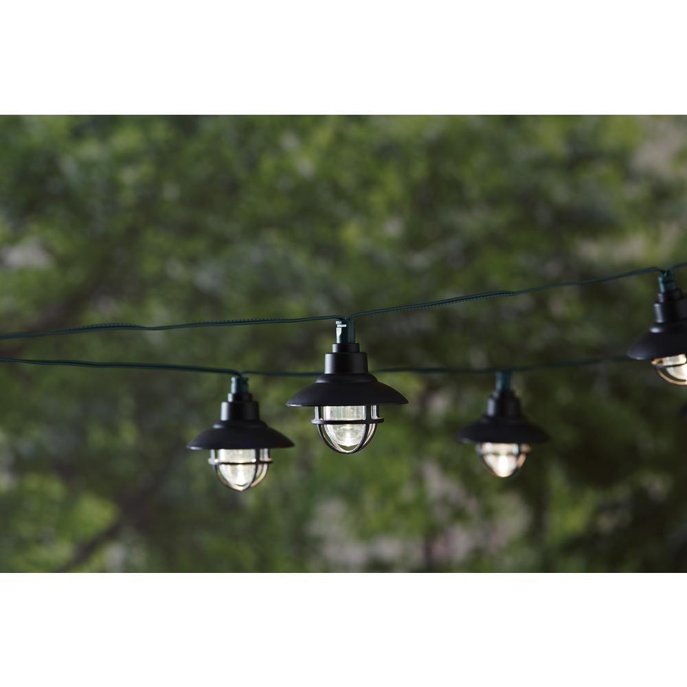 20-Light 231 in. Solar Black Integrated LED Nautical String Light