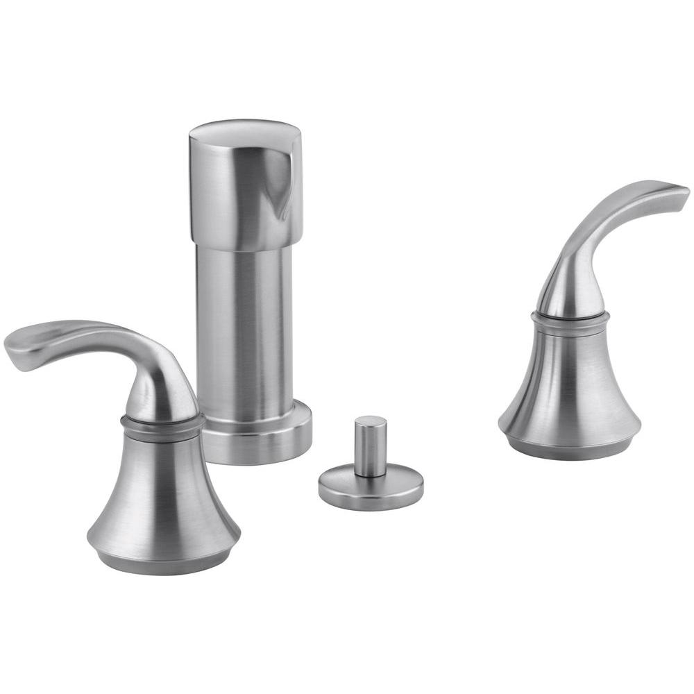 KOHLER Forte 2-Handle Bidet Faucet in Brushed Chrome with Sculpted Lever Handles
