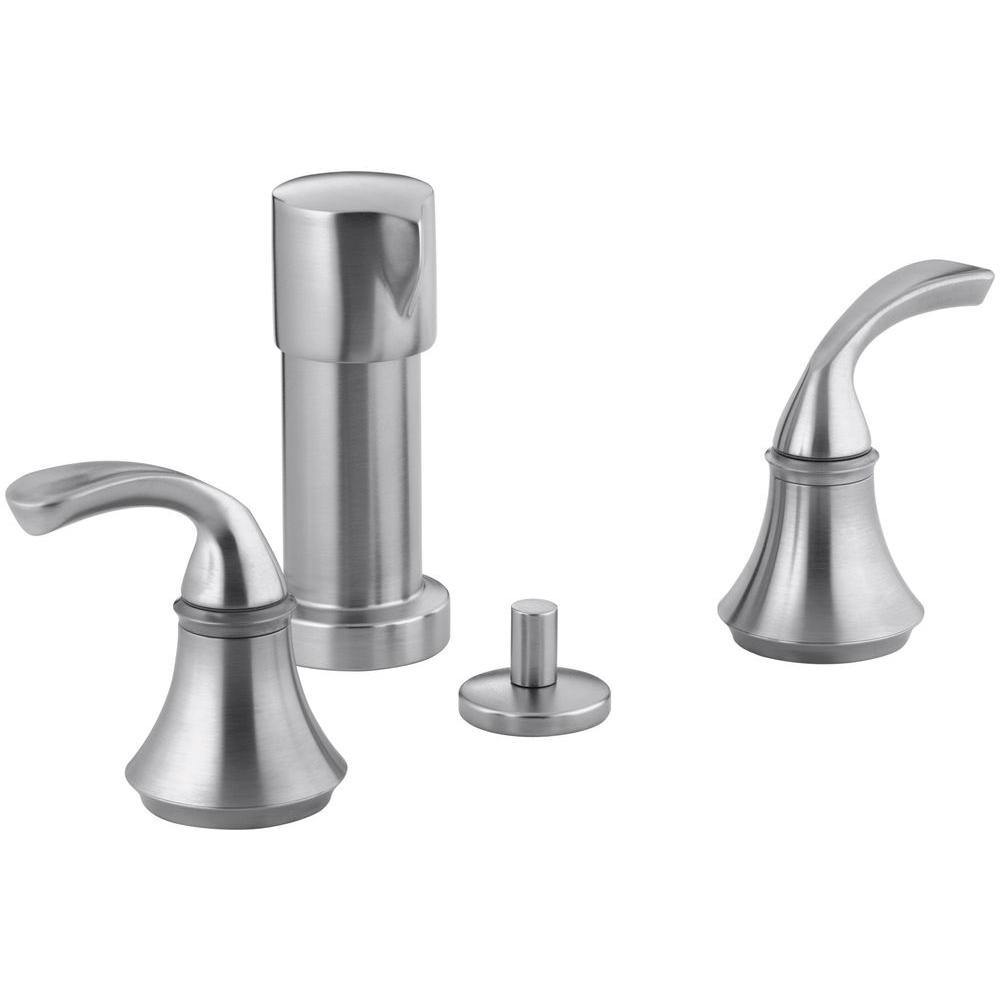 KOHLER Forte 2-Handle Bidet Faucet in Brushed Chrome with Sculpted Lever Handles