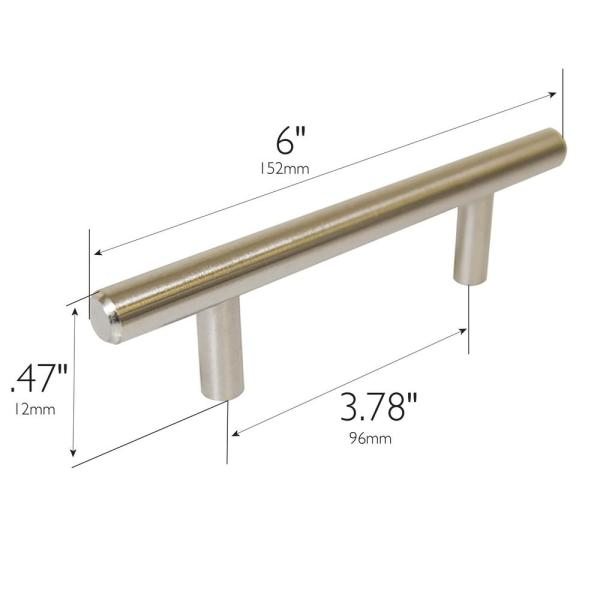 Monroe Stainless Steel 303 Pull Handle with Threaded Studs 4 Center to Center 3//8 Grip Size Pack of 1 Polished Finish 1-3//16 Projection Round Grip