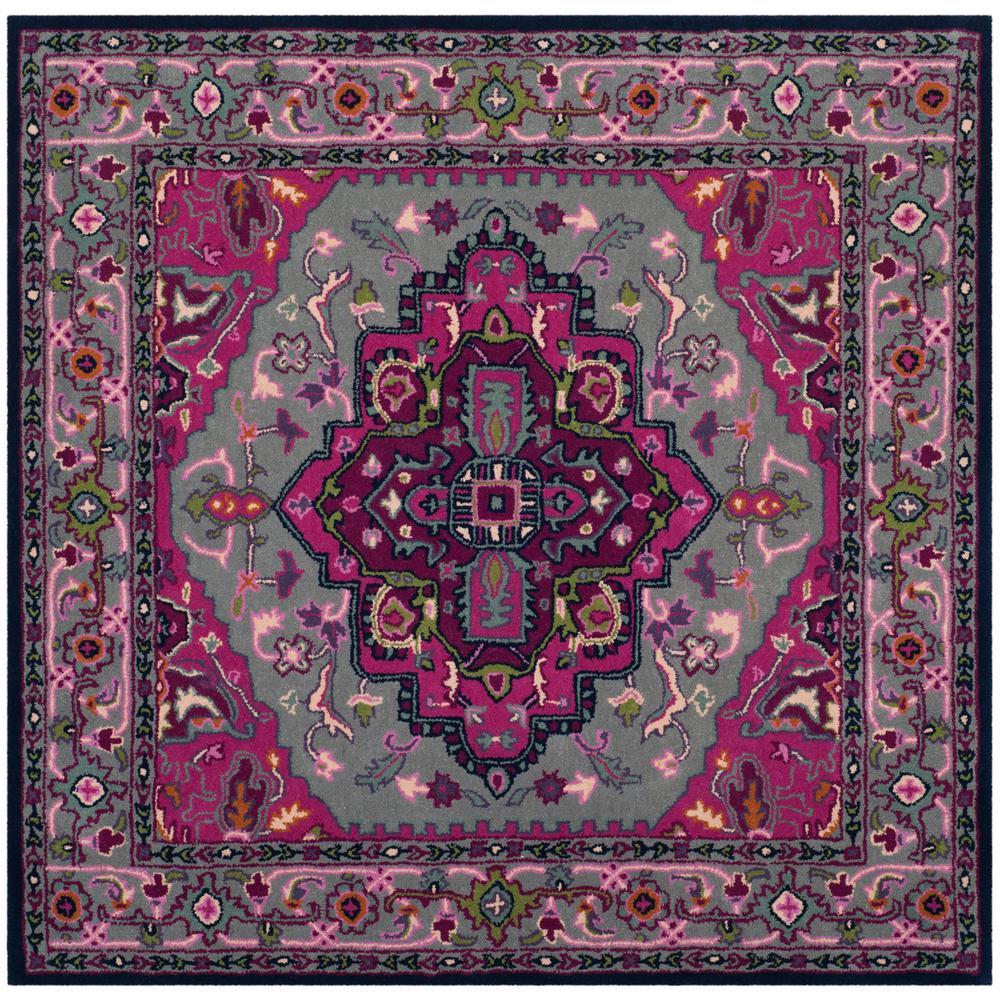 safavieh bellagio gray pink 5 ft x 5 ft square area rug. Black Bedroom Furniture Sets. Home Design Ideas