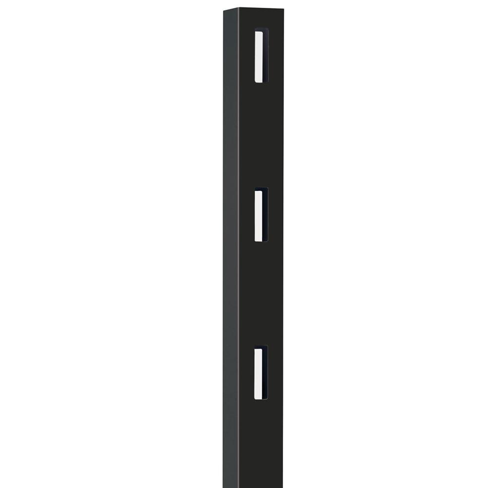 5 in. x 5 in. x 7 ft. Black Vinyl Ranch 3-Rail Line Post