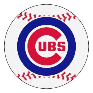 FANMATS MLB Chicago Cubs White 2 ft. 3 inch x 2 ft. 3 inch Round Accent Rug by FANMATS