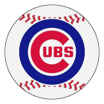 MLB Chicago Cubs White 2 ft. x 2 ft. Round Area Rug
