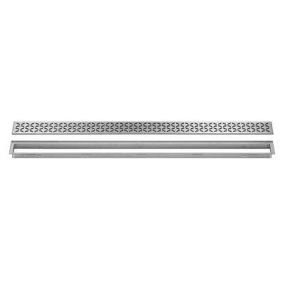 Kerdi-Line Brushed Stainless Steel 35-7/16 in. Floral Grate Assembly with 29/32 in. Frame