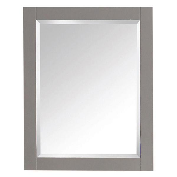 Transitional 24 in. W x 30 in. H Framed Rectangular Beveled Edge Bathroom Vanity Mirror in Chilled Gray