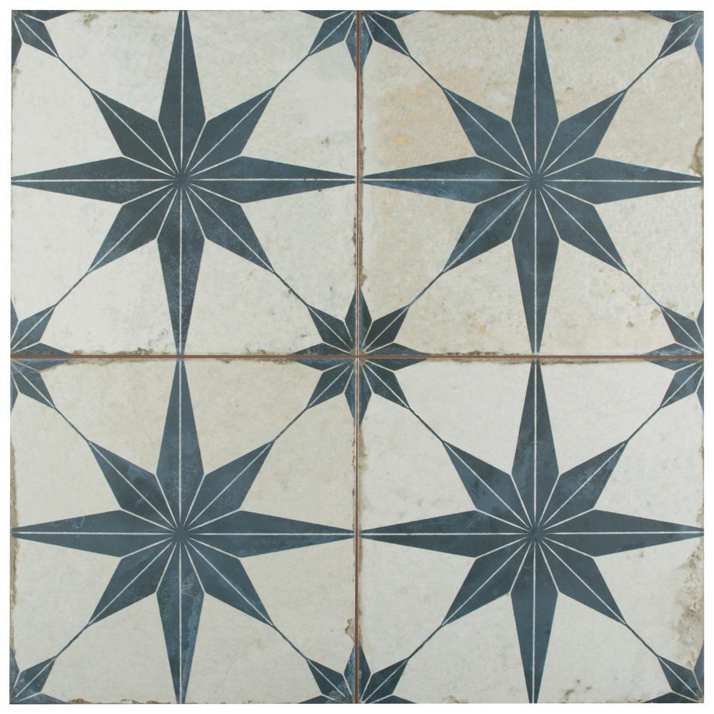 Kings Star Blue Encaustic 17-5/8 in. x 17-5/8 in. Ceramic Floor and Wall Tile (33 cases / 363.66 sq. ft. / pallet)