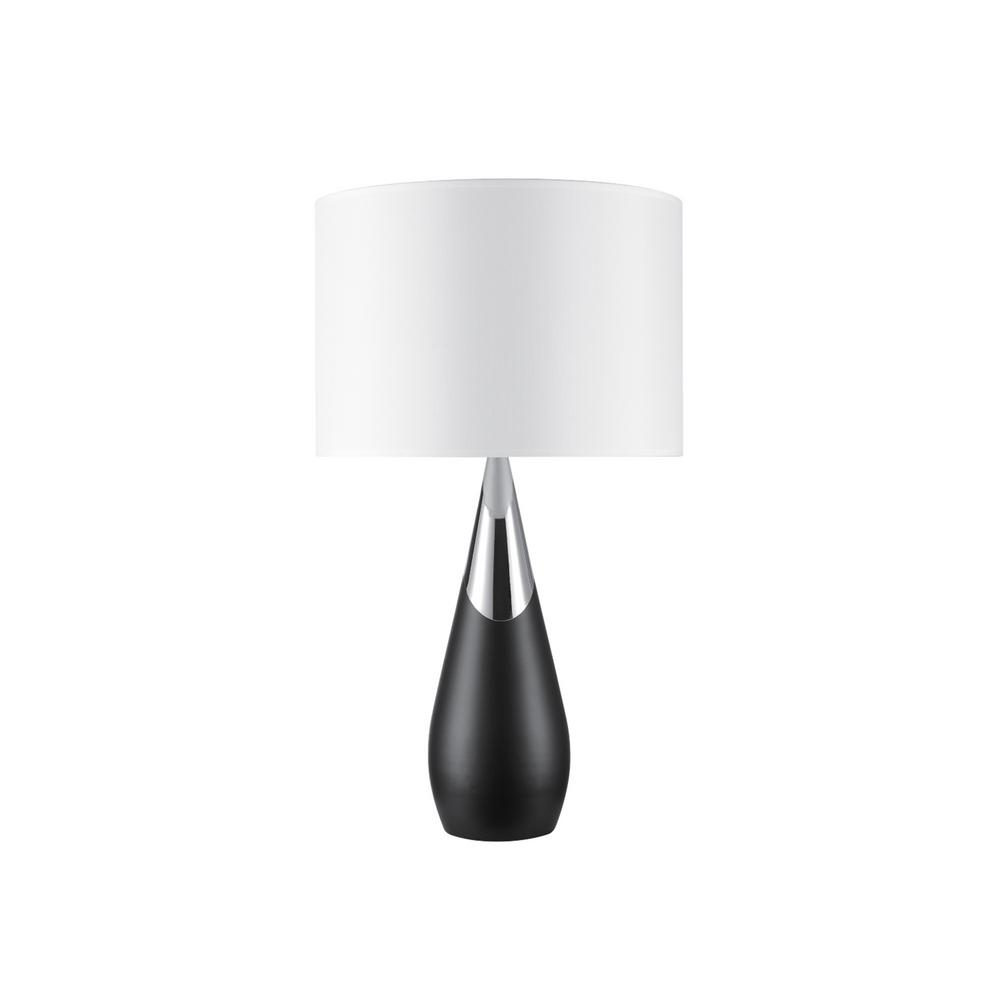 Novogratz X Globe Electric Lexell 25 In Matte Black And Chrome Table Lamp With White Fabric Shade