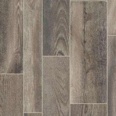 Take Home Sample Oak Windfall Taupe Residential Vinyl Sheet Flooring 6 In X