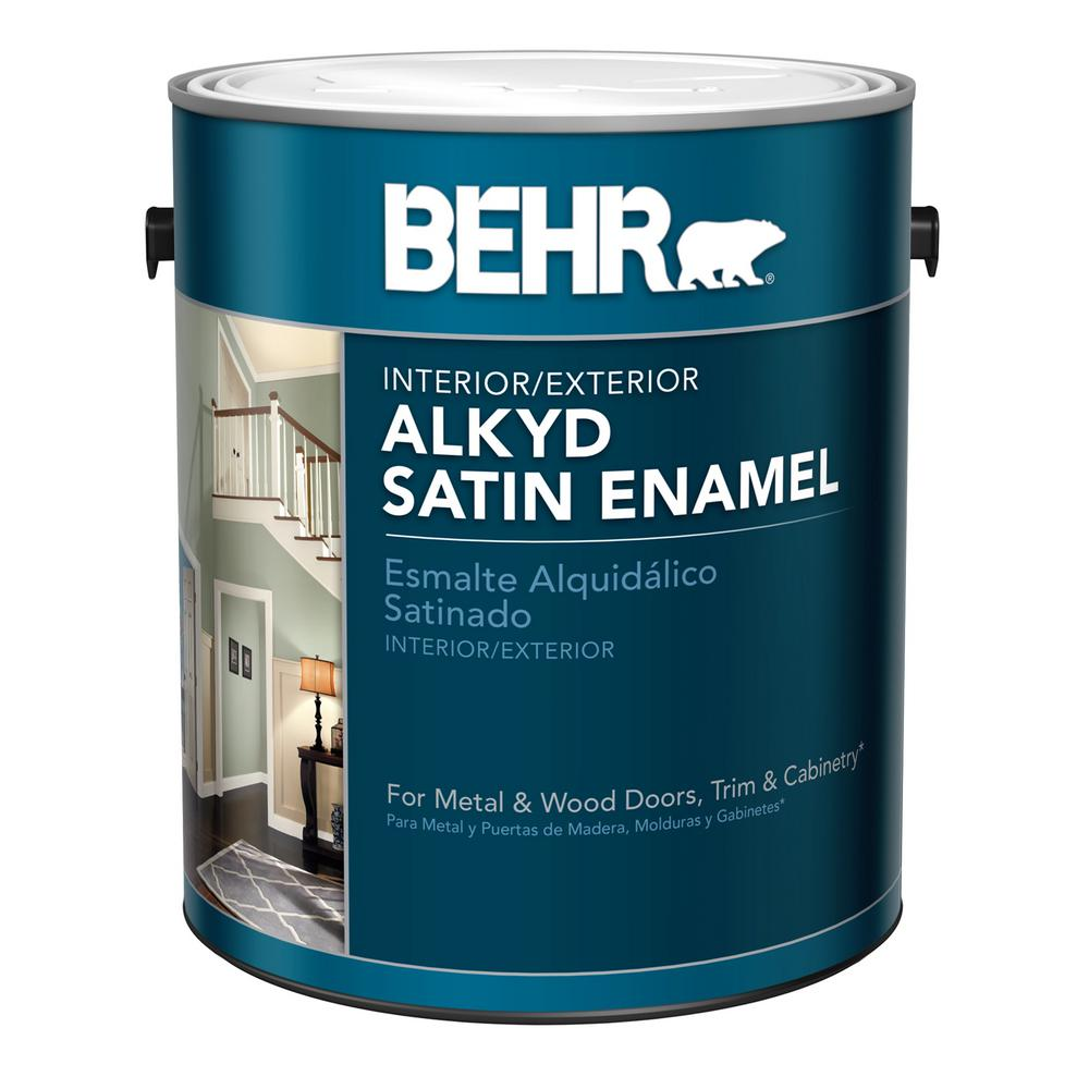 Behr 1 Gal White Alkyd Satin Enamel Interior Exterior Paint 790001 The Home Depot