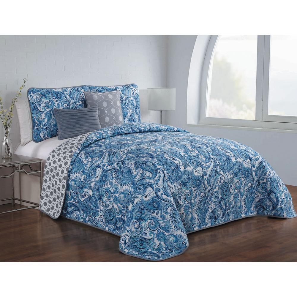 Avondale Manor Dominica 5-Piece Blue Queen Quilt Set DOM5QTQUENGHBL