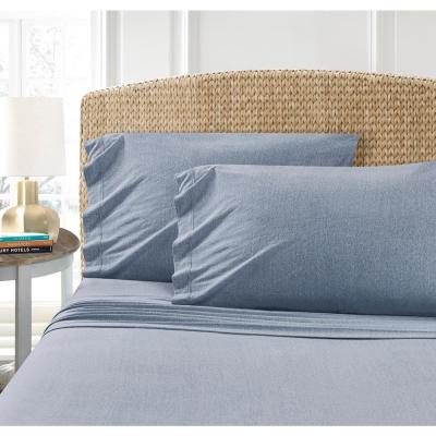 Heather Jersey 2-Piece Blue Solid Twin Sheet Set