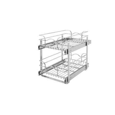 19 in. H x 8.75 in. W x 18 in. D 9 in. Base Cabinet Pull-Out Chrome 2-Tier Wire Basket