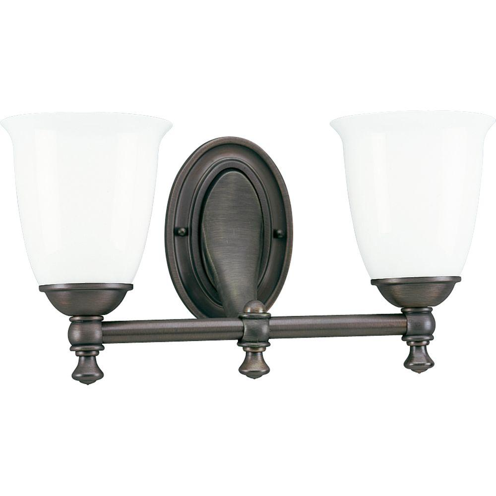 Charmant Progress Lighting Victorian Collection 2 Light Venetian Bronze Vanity Light  With White Opal Glass Shades