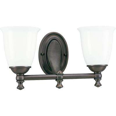 Victorian Collection 2-Light Venetian Bronze Vanity Light with White Opal Glass Shades
