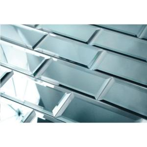 Reflections Graphite Blue Beveled Subway 3 in. x 6 in. Glass Mirror Wall Tile Sample