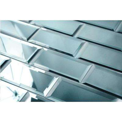 Subway 3 in. x 6 in. Gray Blue Beveled Glossy Glass Mirror Peel & Stick Decorative Bathroom Wall Tile Backsplash Sample