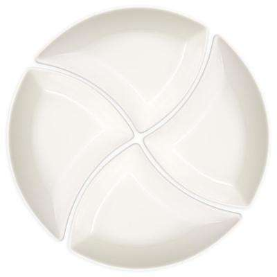 New Wave 4-Piece Glazed White Appetizer Bowl