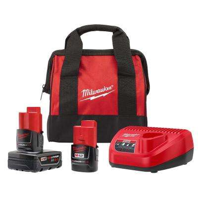 M12 12-Volt Lithium-Ion 3.0 Ah and 1.5 Ah Battery Packs and Charger Starter Kit