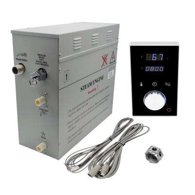 Superior 12kW Deluxe Self-Draining Steam Bath Generator Digital Programmable Control in Black and Chrome Steam Outlet