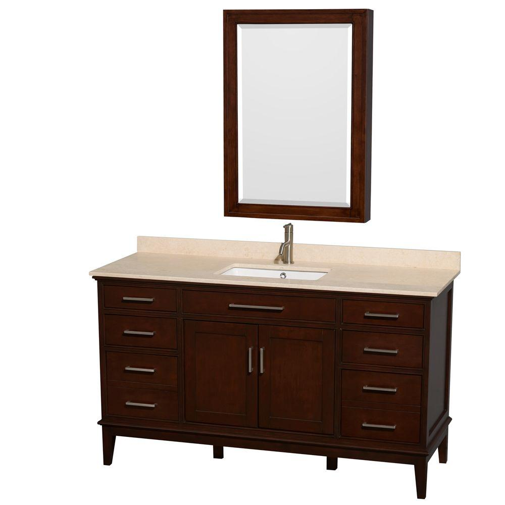Hatton 60 in. Vanity in Dark Chestnut with Marble Vanity Top