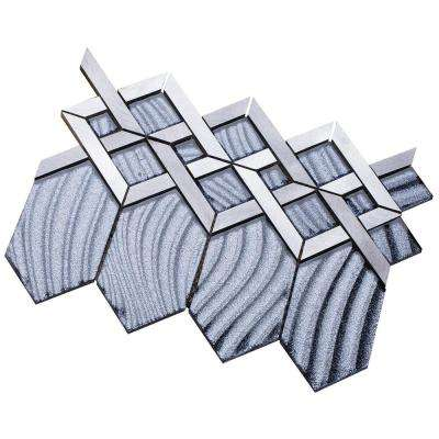 Hexa/03 Gray Sequined Glass Coupled with Silver and Gray Aluminum 3 in. x 10 in. Tile Sample