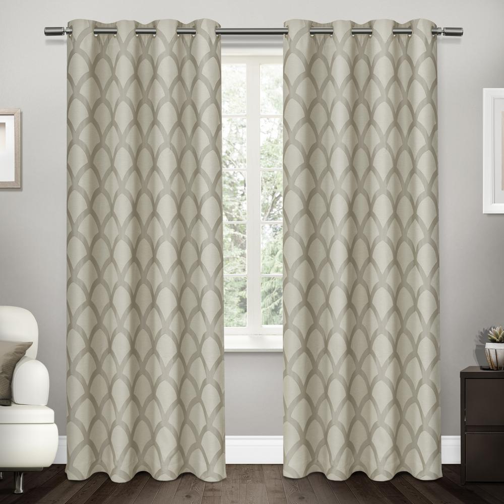 c67acc5381e9c Internet  303956342. Electra Taupe Scalloped Heavyweight Jacquard Linen Blackout  Grommet Top Window Curtain