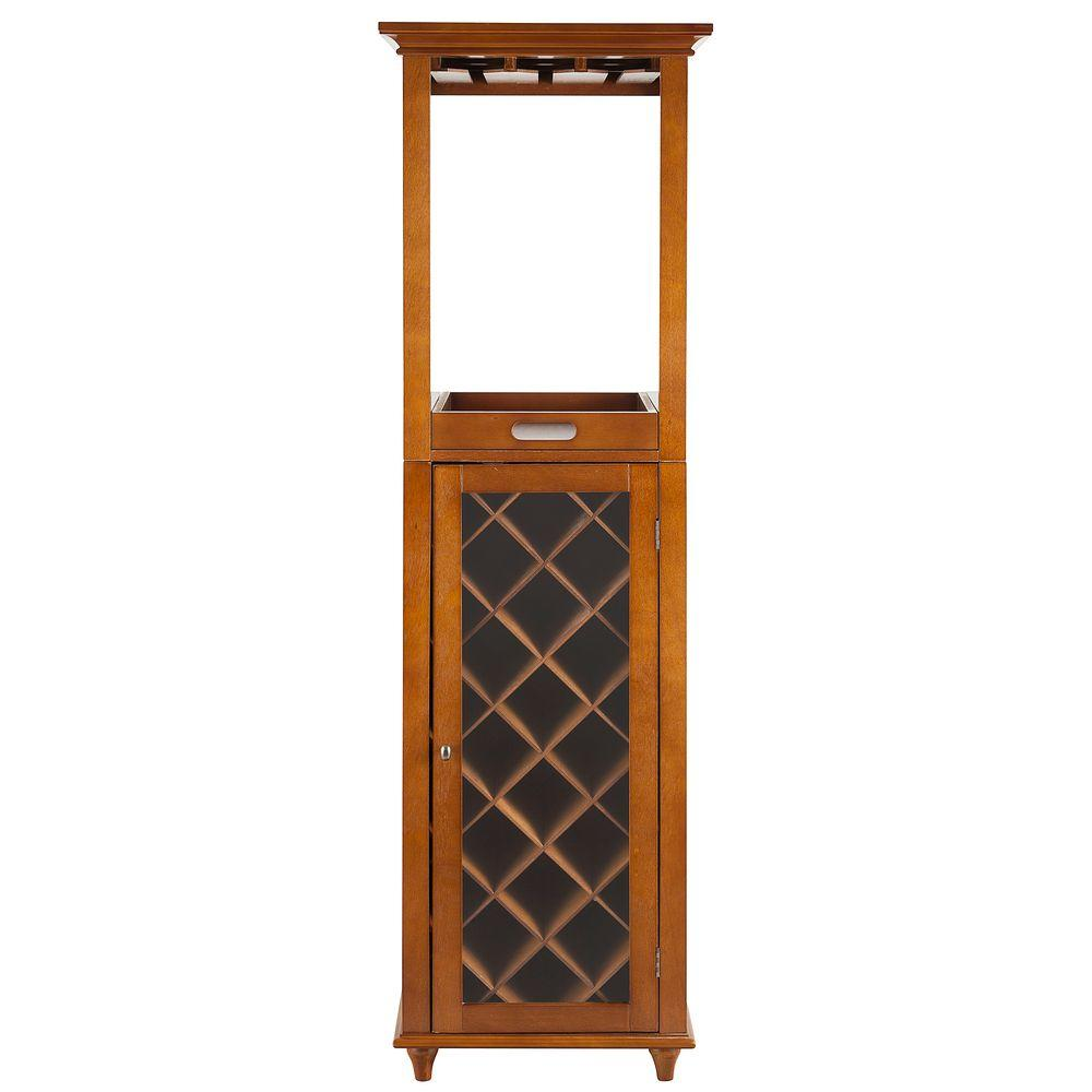 Elegant Home Fashions Napoleon II 16-Bottles Wine Cabinet in Walnut with Glasses Storage
