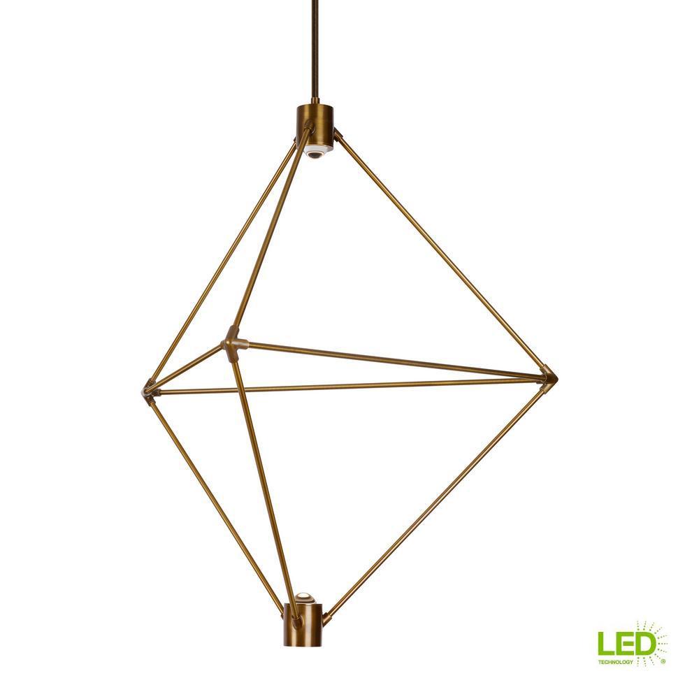 Candora 2-Light Aged Brass LED Chandelier
