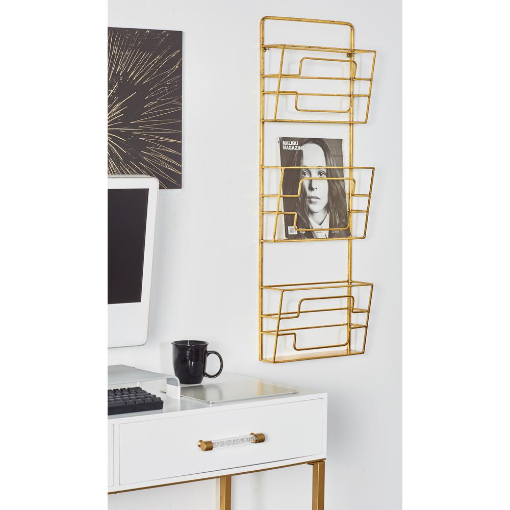 Litton Lane Gold 3 Tier Wall Mounted Magazine Rack 65697