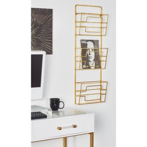 Gold 3-Tier Wall Mounted Magazine Rack by