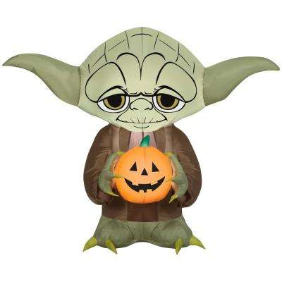 3 ft. Pre Lit Inflatable Stylized Yoda with Pumpkin-Star Wars Air-Blown
