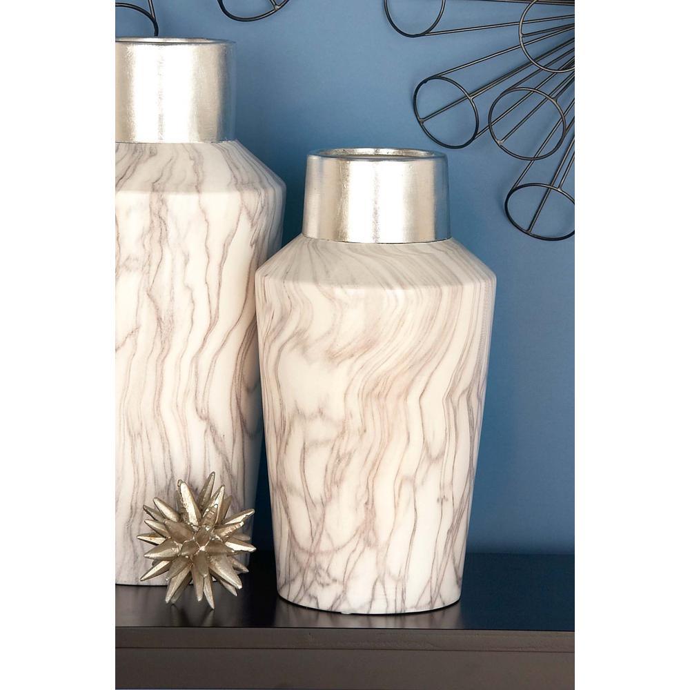 15 in. x 8 in. Ceramic White and Silver Vase